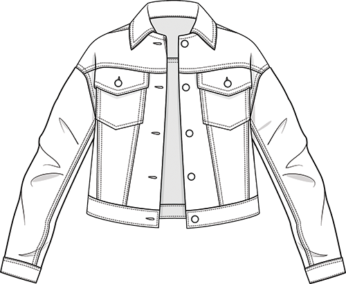 Denim jacket technical drawing